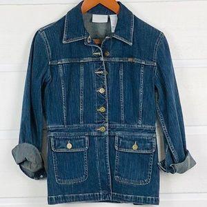 LIZ CLAIBORNE Blue Denim Safari Style Jacket